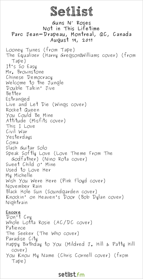 Guns N' Roses Setlist Parc Jean-Drapeau, Montreal, QC, Canada 2017, Not in This Lifetime