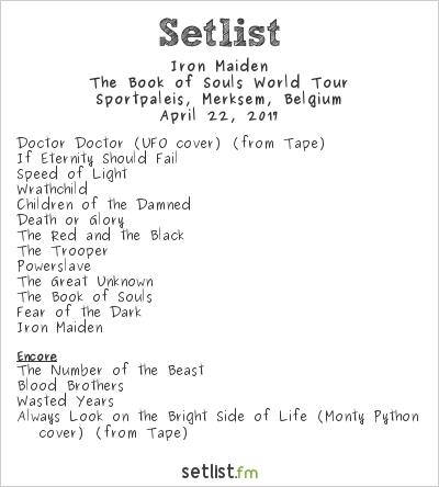 Iron Maiden Setlist Sportpaleis, Antwerp, Belgium 2017, The Book of Souls World Tour