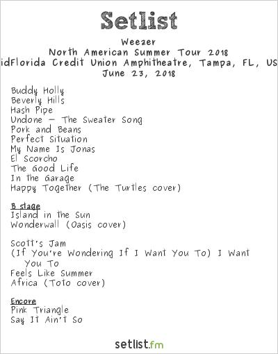 Weezer Setlist MidFlorida Credit Union Amphitheatre, Tampa, FL, USA, Weezer/Pixies North American Tour 2018