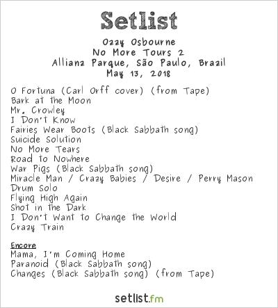 Ozzy Osbourne Setlist Allianz Parque, São Paulo, Brazil 2018, No More Tours 2