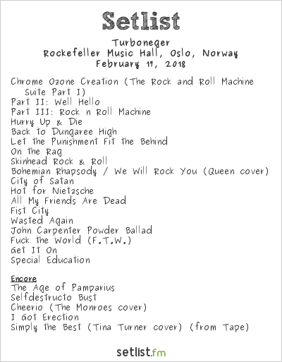Turboneger Setlist Rockefeller Music Hall, Oslo, Norway 2018