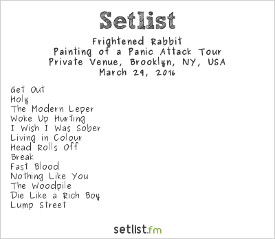 Frightened Rabbit Setlist Rough Trade, Brooklyn, NY, USA 2016, Painting of a Panic Attack Tour