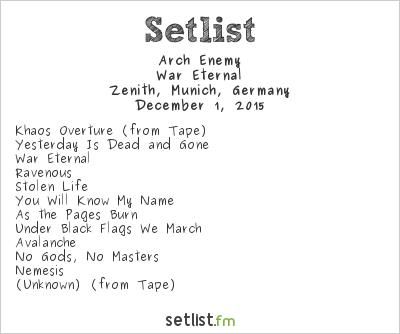 Arch Enemy Setlist Zenith, Munich, Germany 2015, War Eternal