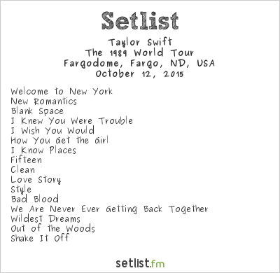 Taylor Swift Setlist Fargodome Fargo Nd Usa 2015 The 1989 World Tour Widgets Setlist Fm