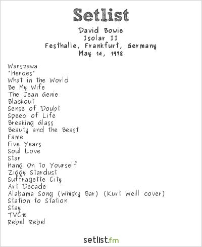 David Bowie Setlist Festhalle, Frankfurt, Germany 1978, Isolar II