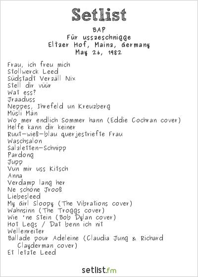 BAP Setlist Eltzer Hof, Mainz, Germany 1982, Für usszeschnigge