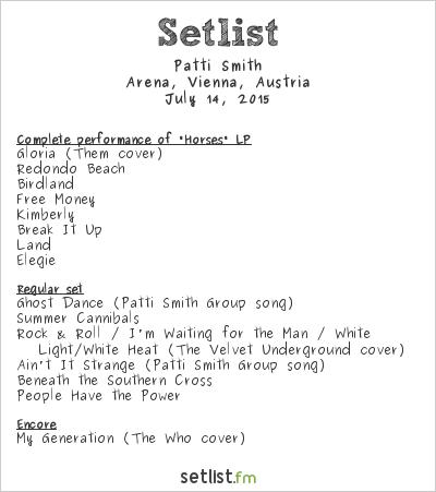 Patti Smith Setlist Arena, Vienna, Austria 2015