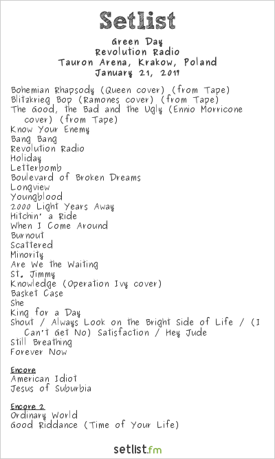 Green Day Setlist Tauron Arena, Kraków, Poland 2017, Revolution Radio Tour