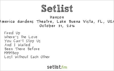 Hanson Setlist America Gardens Theatre, Orlando, FL, USA 2016