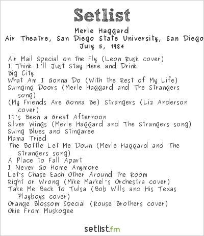 Merle Haggard at Unknown Venue, San Diego, CA, USA Setlist