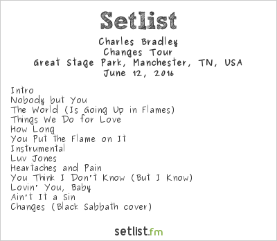 Charles Bradley Setlist Bonnaroo 2016 2016, Changes Tour