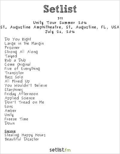 311 Setlist St. Augustine Amphitheatre, St. Augustine, FL, USA, Summer Tour 2016