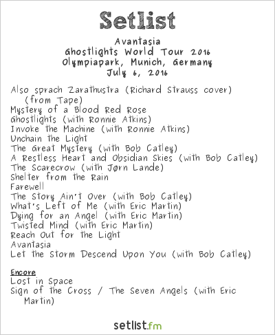 Avantasia Setlist Tollwood Sommerfestival 2016, Ghostlights World Tour 2016