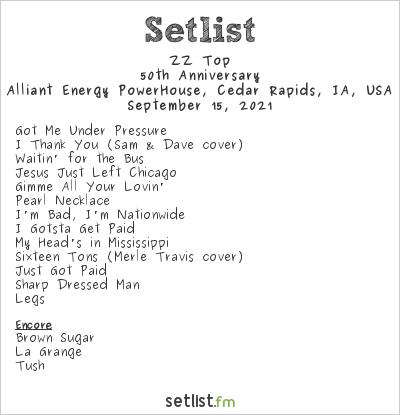 ZZ Top at Alliant Energy PowerHouse, Cedar Rapids, IA, USA Setlist