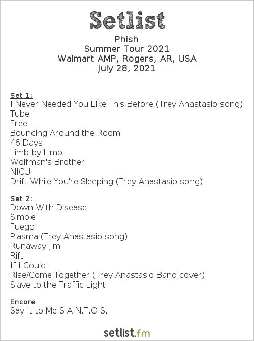 Phish Setlist Walmart AMP, Rogers, AR, USA 2021, 2021 Summer Tour
