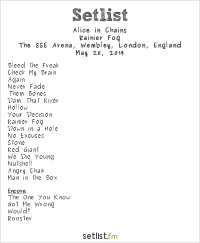 Alice in Chains Setlist The SSE Arena, Wembley, London, England 2019, Rainier Fog