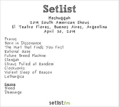 Meshuggah Setlist El Teatro Flores, Buenos Aires, Argentina 2019, 2019 South American Shows