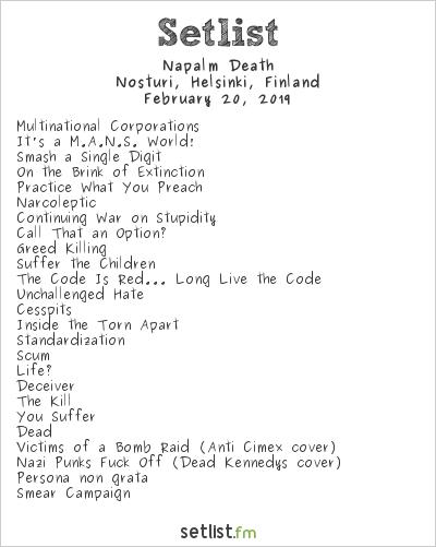 Napalm Death Setlist Nosturi, Helsinki, Finland 2019