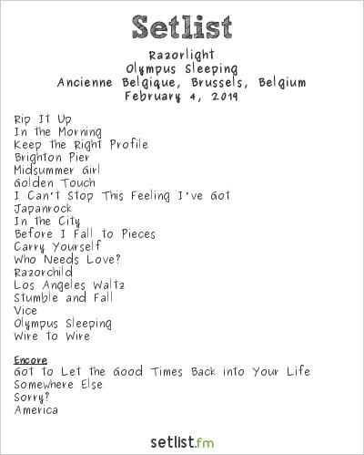 Razorlight Setlist Ancienne Belgique, Brussels, Belgium 2019, Olympus Sleeping