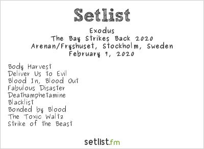 Exodus Setlist Arenan/Fryshuset, Stockholm, Sweden, The Bay Strikes Back 2020