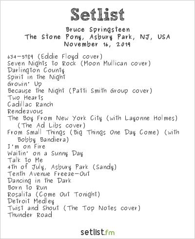 Bruce Springsteen Setlist The Stone Pony, Asbury Park, NJ, USA 2019