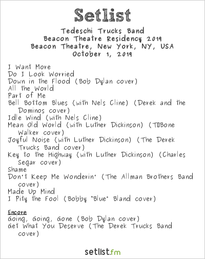 Tedeschi Trucks Band Setlist Beacon Theatre, New York, NY, USA, Beacon Theatre Residency 2019