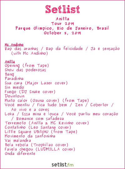 Anitta Setlist Rock in Rio 2019, Tour 2019