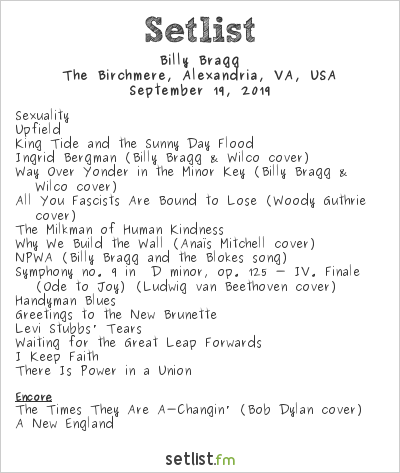 Billy Bragg at The Birchmere, Alexandria, VA, USA Setlist