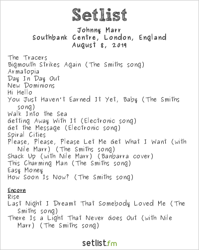 Johnny Marr Setlist Meltdown Festival 2019 2019