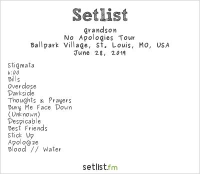 grandson Setlist Ballpark Village, St. Louis, MO, USA 2019, No Apologies Tour