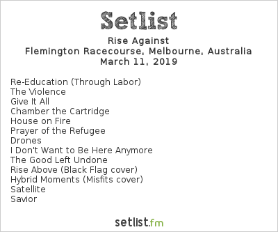 Rise Against Setlist Download Melbourne 2019 2019