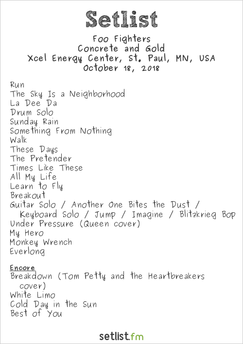 Foo Fighters Setlist Xcel Energy Center, St. Paul, MN, USA 2018, Concrete and Gold