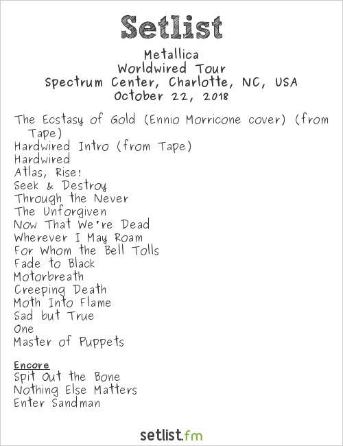 Metallica Setlist Spectrum Center, Charlotte, NC, USA 2018, Worldwired Tour