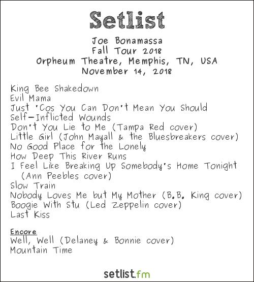 Joe Bonamassa Setlist Orpheum Theatre, Memphis, TN, USA, Fall Tour 2018