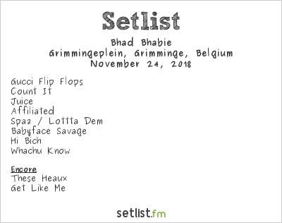 Bhad Bhabie Setlist Grimmingeplein, Grimminge, Belgium 2018