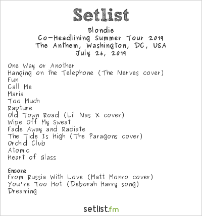 Blondie Setlist The Anthem, Washington, DC, USA, Co-Headlining Summer Tour 2019