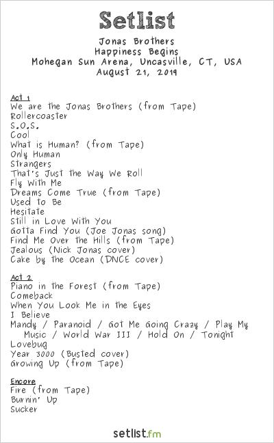 Jonas Brothers Setlist Mohegan Sun Arena, Uncasville, CT, USA 2019, Happiness Begins