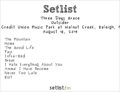 Three Days Grace Setlist Coastal Credit Union Music Park at Walnut Creek, Raleigh, NC, USA 2019, Outsider