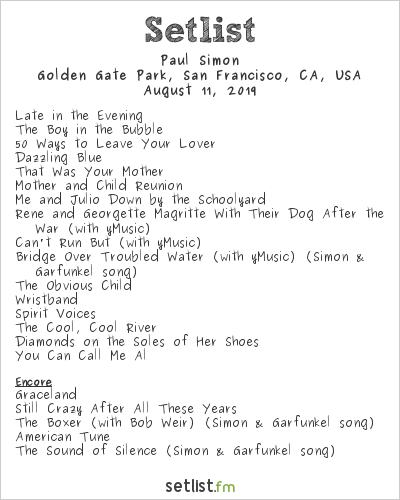 Paul Simon Setlist Outside Lands Music & Arts Festival 2019 2019