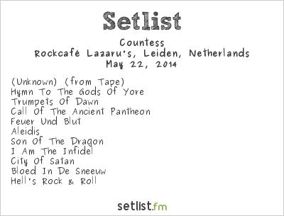 Countess Setlist Rockcafé Lazaru's, Leiden, Netherlands 2014
