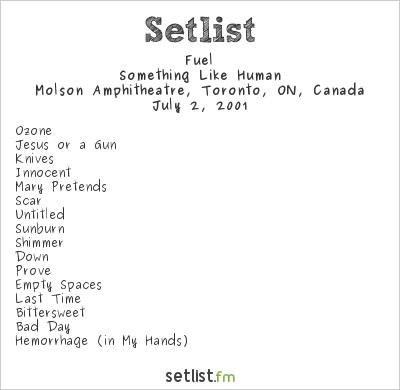 Fuel Setlist Molson Amphitheatre, Toronto, ON, Canada 2001