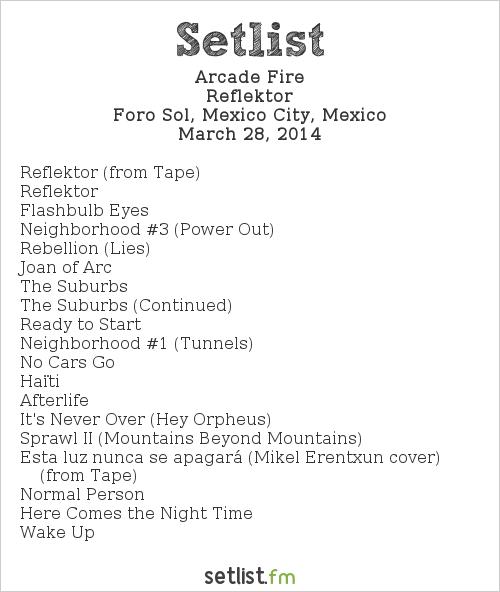 Arcade Fire Setlist Vive Latino 2014 2014, Reflektor