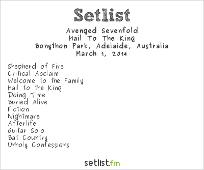 Avenged Sevenfold Setlist Soundwave Adelaide 2014 2014, Hail To The King