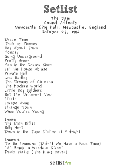 The Jam Setlist Newcastle City Hall, Newcastle, England 1980