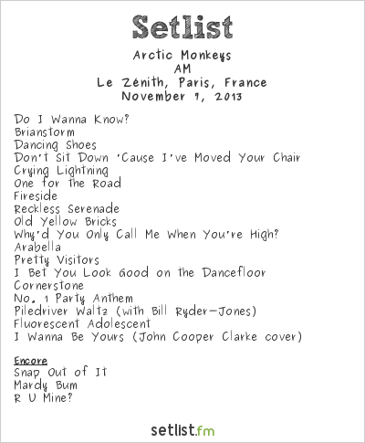 Arctic Monkeys Setlist Les Inrockuptibles 2013 2013, AM Tour