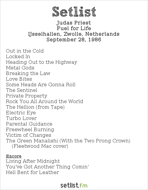 Judas Priest Setlist IJsselhallen, Zwolle, Netherlands 1986, Fuel For Life