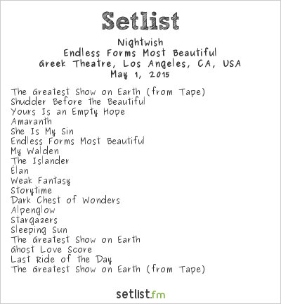 Nightwish Setlist Greek Theatre, Los Angeles, CA, USA 2015, Endless Forms Most Beautiful