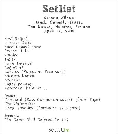 Steven Wilson Setlist The Circus, Helsinki, Finland 2015, 2015 Hand. Cannot. Erase. Tour