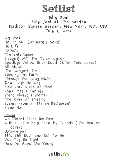 Billy joel setlist madison square garden new york ny - Billy joel madison square garden march 3 ...