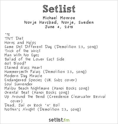Michael Monroe Setlist Sweden Rock Festival 2015 2015